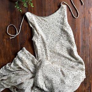 Vintage Beaded Silk Full Length Sheath Gown